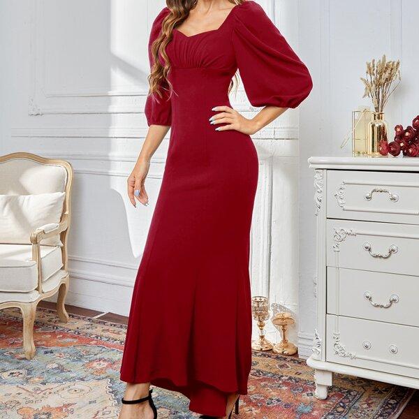 Sweetheart Neck Bishop Sleeve Dress, Burgundy