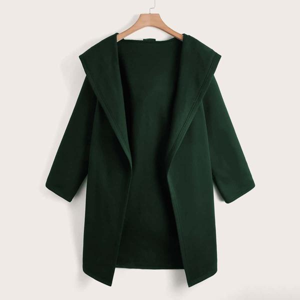 Plus Open Front Hooded Coat, Dark green