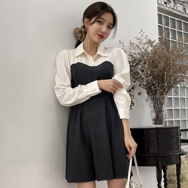 Two Tone Puff Sleeve Shirt Dress, Black