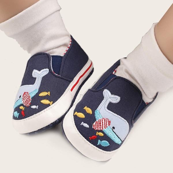 Baby Cartoon Embroidery Detail Slip On Flats, Navy blue