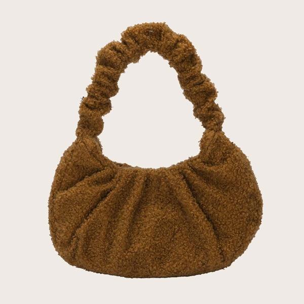 Minimalist Ruched Fluffy Satchel Bag, Khaki