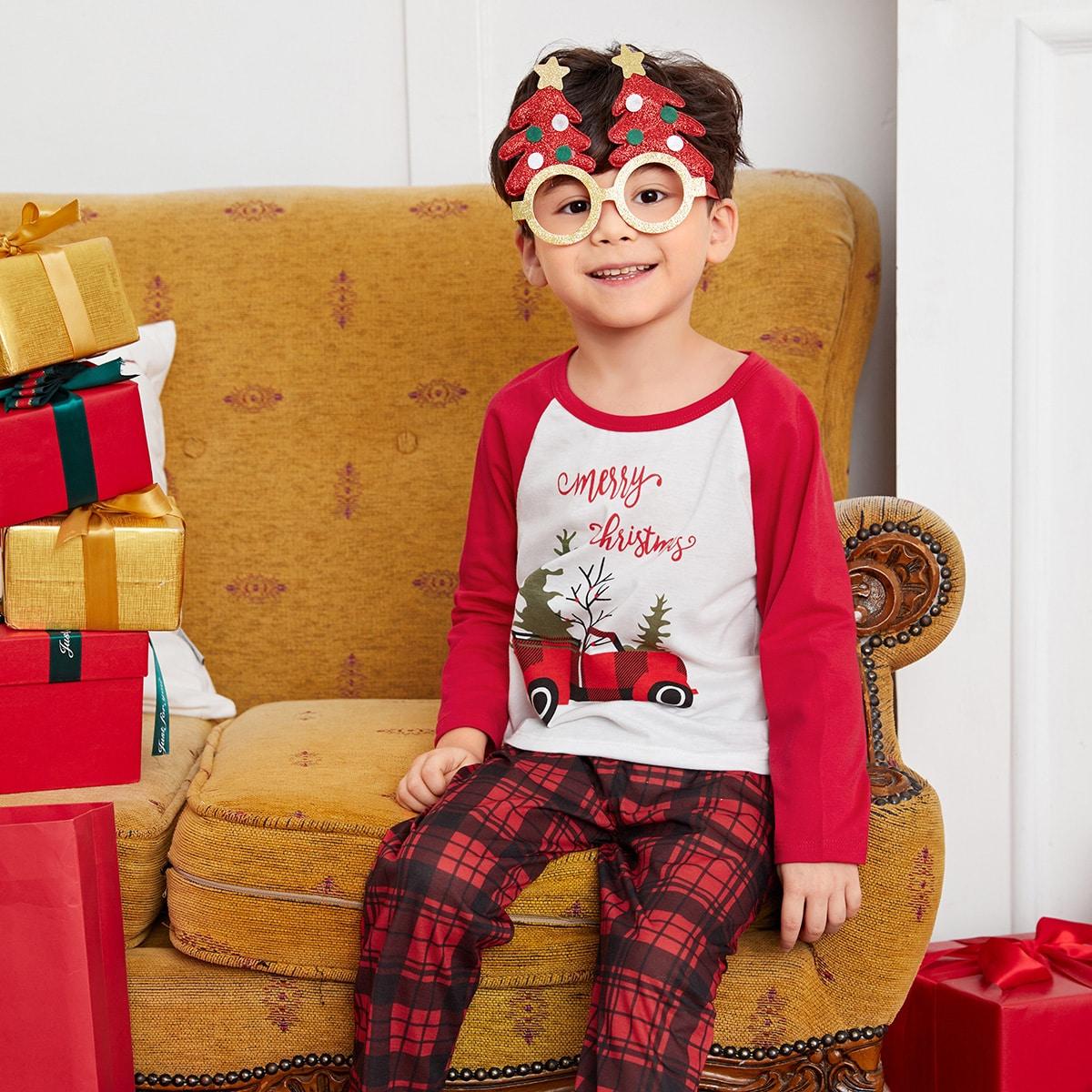 Toddler Boys Christmas Print Raglan Sleeve Tee & Plaid Print Pants