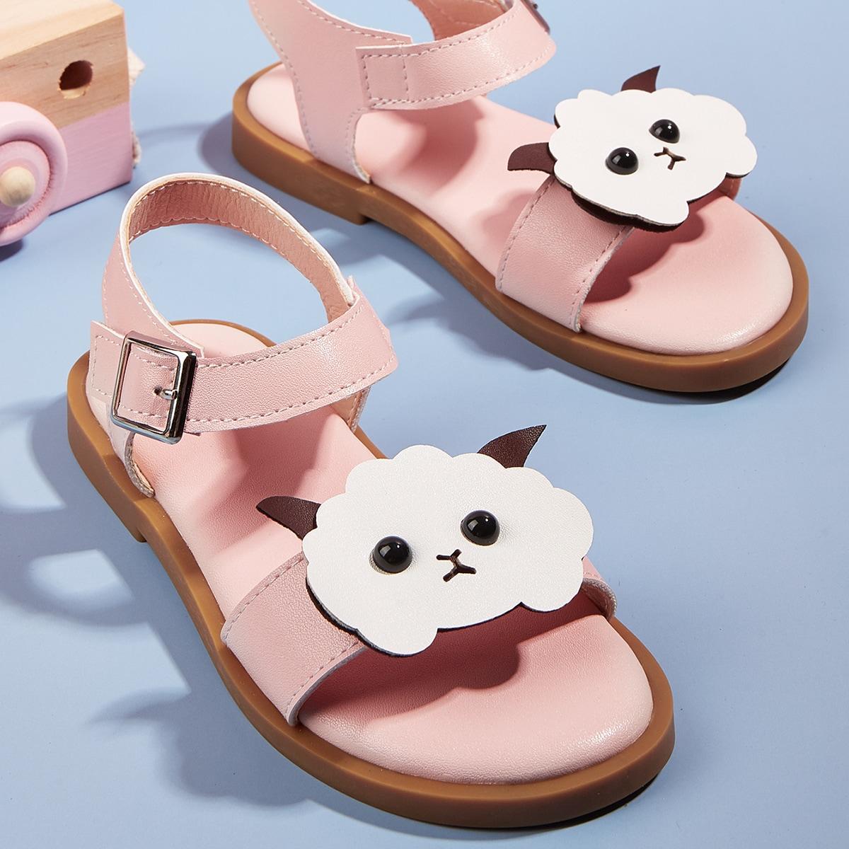 Girls Cartoon Decor Ankle Strap Sandals