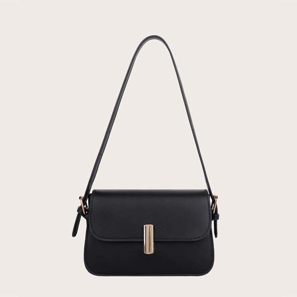 Girls Minimalist Flap Baguette Bag, Black