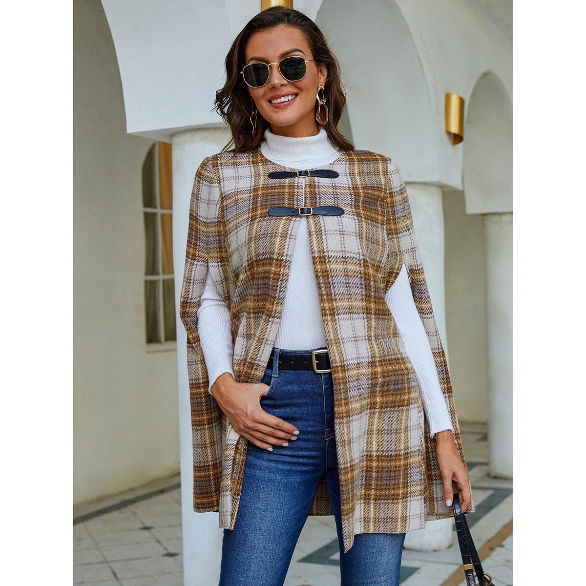 Plaid Buckled Cloak Sleeve Overcoat