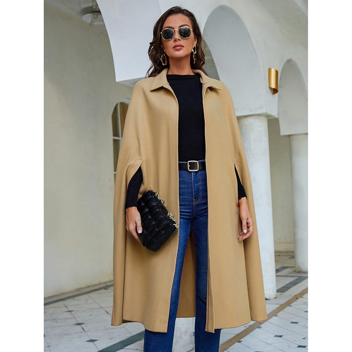 Cloak Sleeve Open Front Overcoat