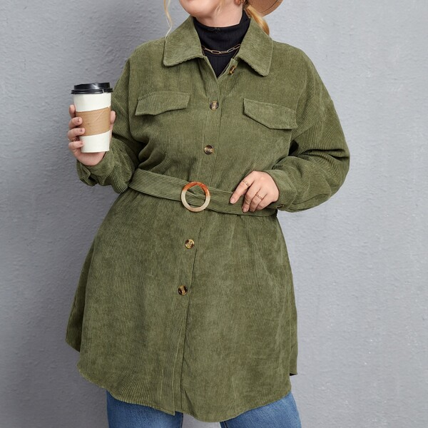 Plus Single Breasted Flap Detail Corduroy Coat, Army green