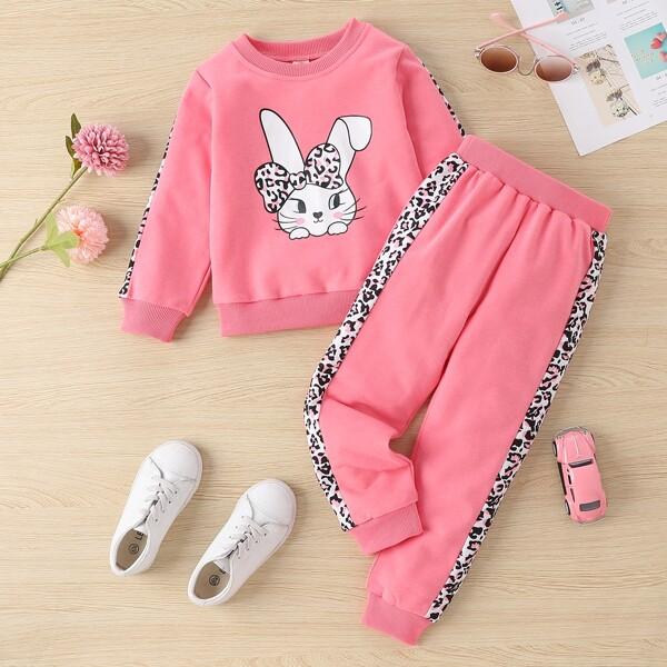 Toddler Girls Cartoon Rabbit Sweatshirt & Sweatpants, Pink