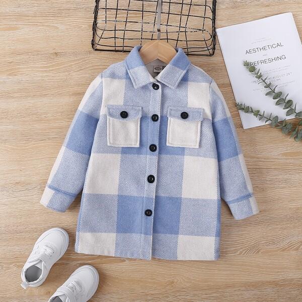 Toddler Girls Flap Pocket Gingham Overcoat, Blue and white