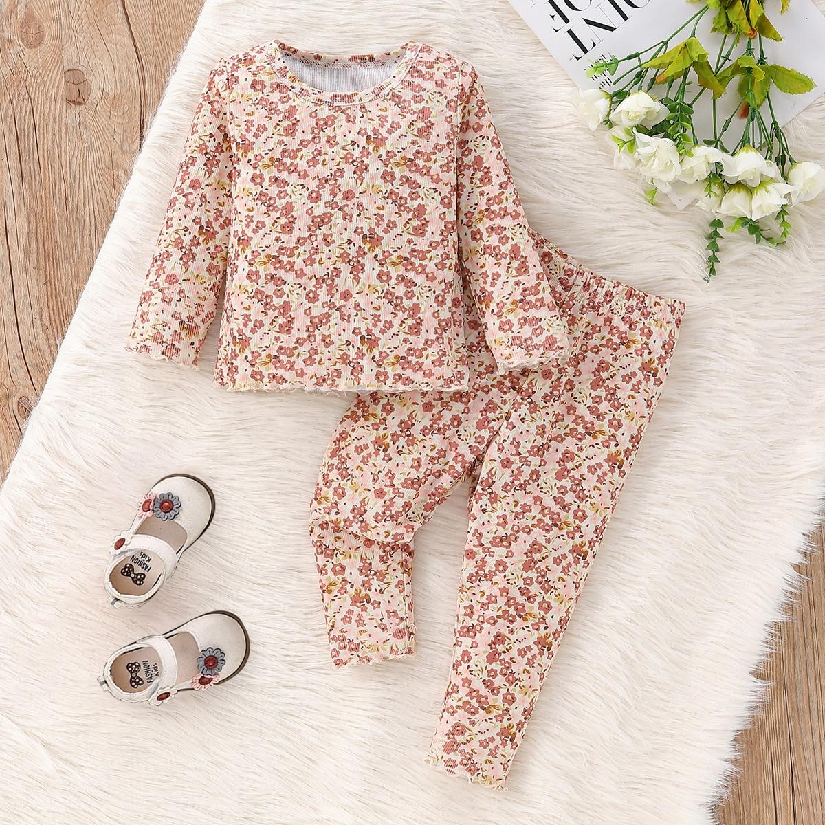 Baby Ditsy Floral Print Lettuce Trim Top & Leggings
