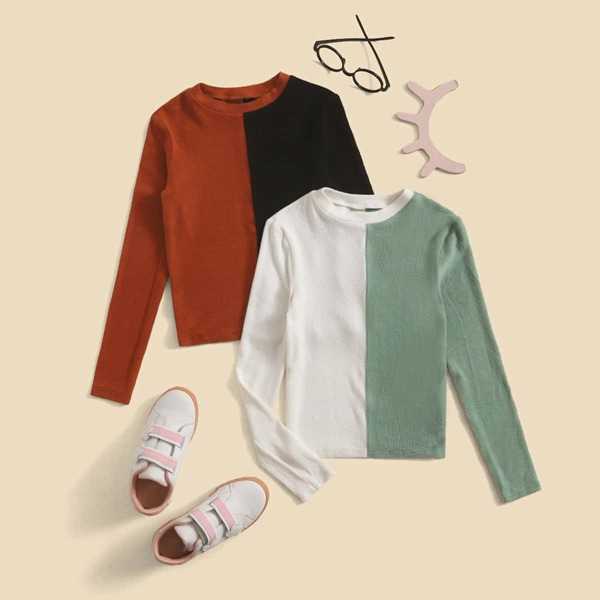 Girls 2pcs Two Tone Tee, Multicolor