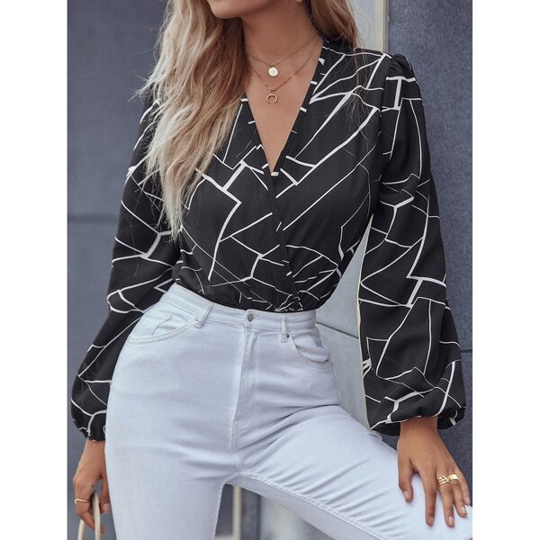 All Over Print Wrap Bishop Sleeve Bodysuit, Black and white