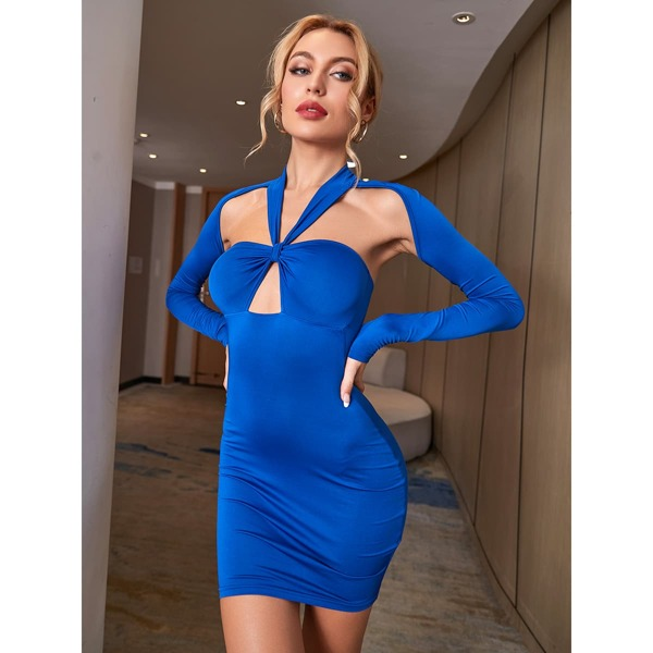 Open Back Peekaboo Ruched Bust Bodycon Dress, Royal blue