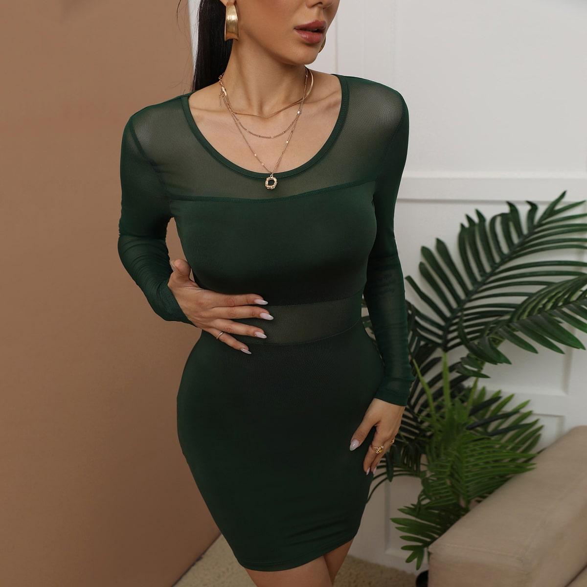 Облегающее платье сетчатая вставка