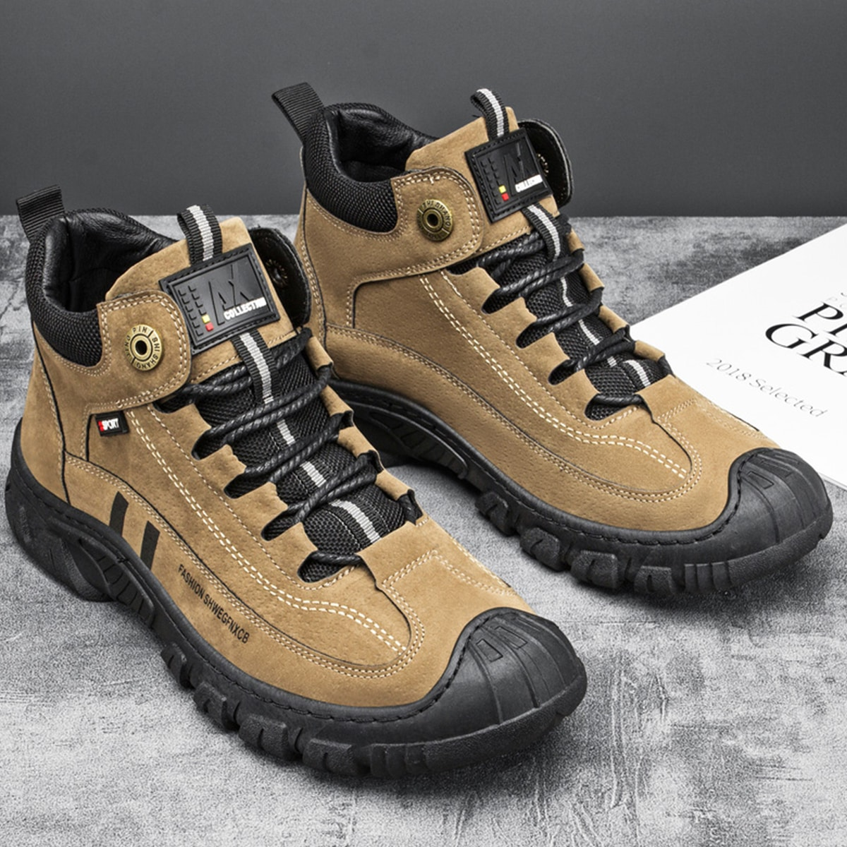 Men Two Tone Lace-up Front Hiking Boots