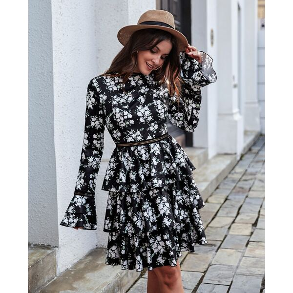 Floral Print Guipure Lace Insert Flounce Sleeve Layered Ruffle Hem Dress, Black and white