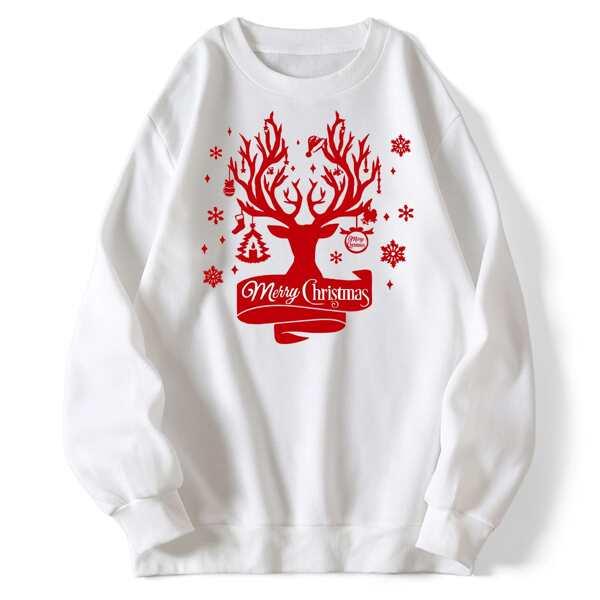 Christmas Slogan & Elk Print Thermal Pullover, White