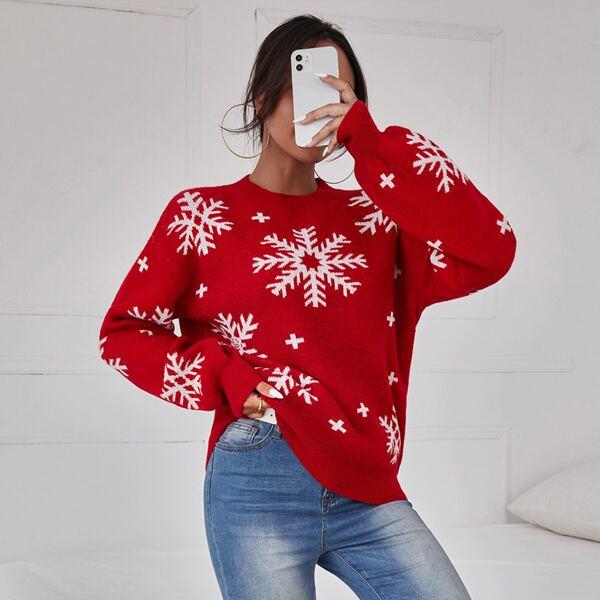 Snowflake Drop Shoulder Sweater, Red