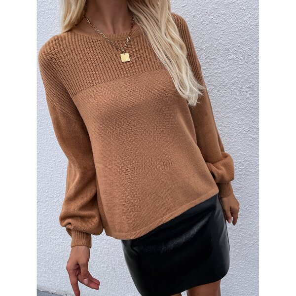 Lantern Sleeve Ribbed Knit Yoke Sweater, Camel