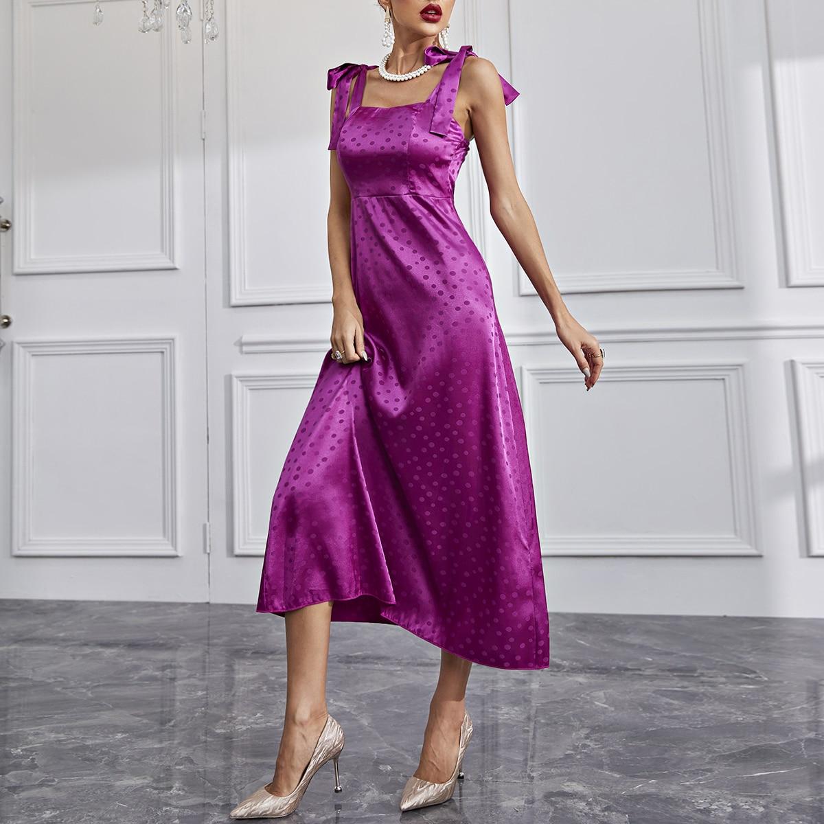 Polka Dot Print Tie Shoulder Satin Dress