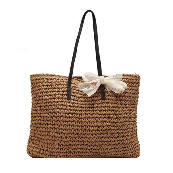 Bow Decor Straw Tote Bag, Camel