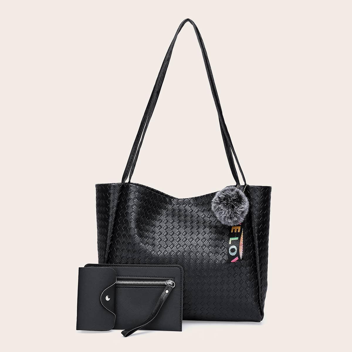 3 piezas Set bolso tote con diseño trenzado con con diseño de pompón