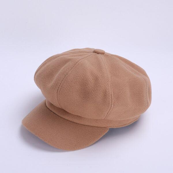Men Woolen-mix Solid Baker Boy Hat, Camel
