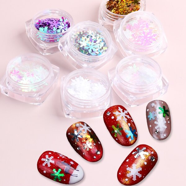 7boxes Christmas Snowflake Shaped Sequin Nail Art Decoration, Multicolor