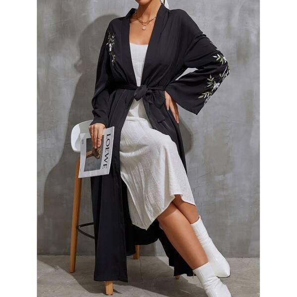 Floral Embroidered Belted Abaya, Black