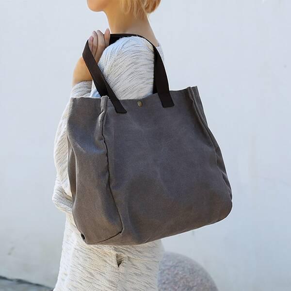 Minimalist Canvas Shopper Bag, Grey