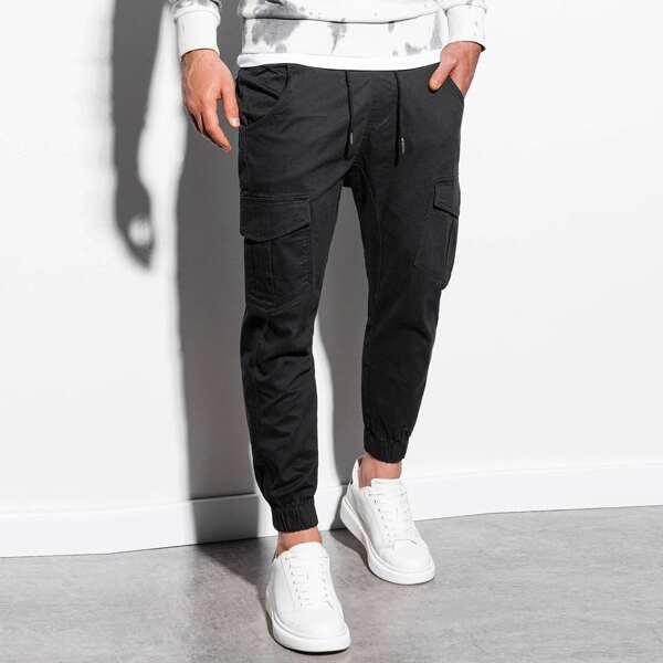 Men Flap Pockets Drawstring Waist Cargo Pants, Black