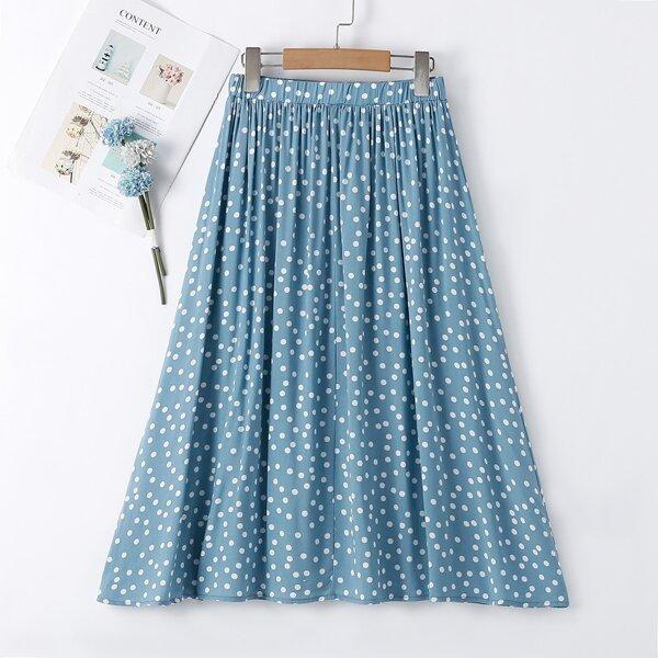 Girls Polka Dot Skirt, Blue