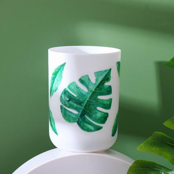1pc Leaf Print Gargle Cup, Multicolor
