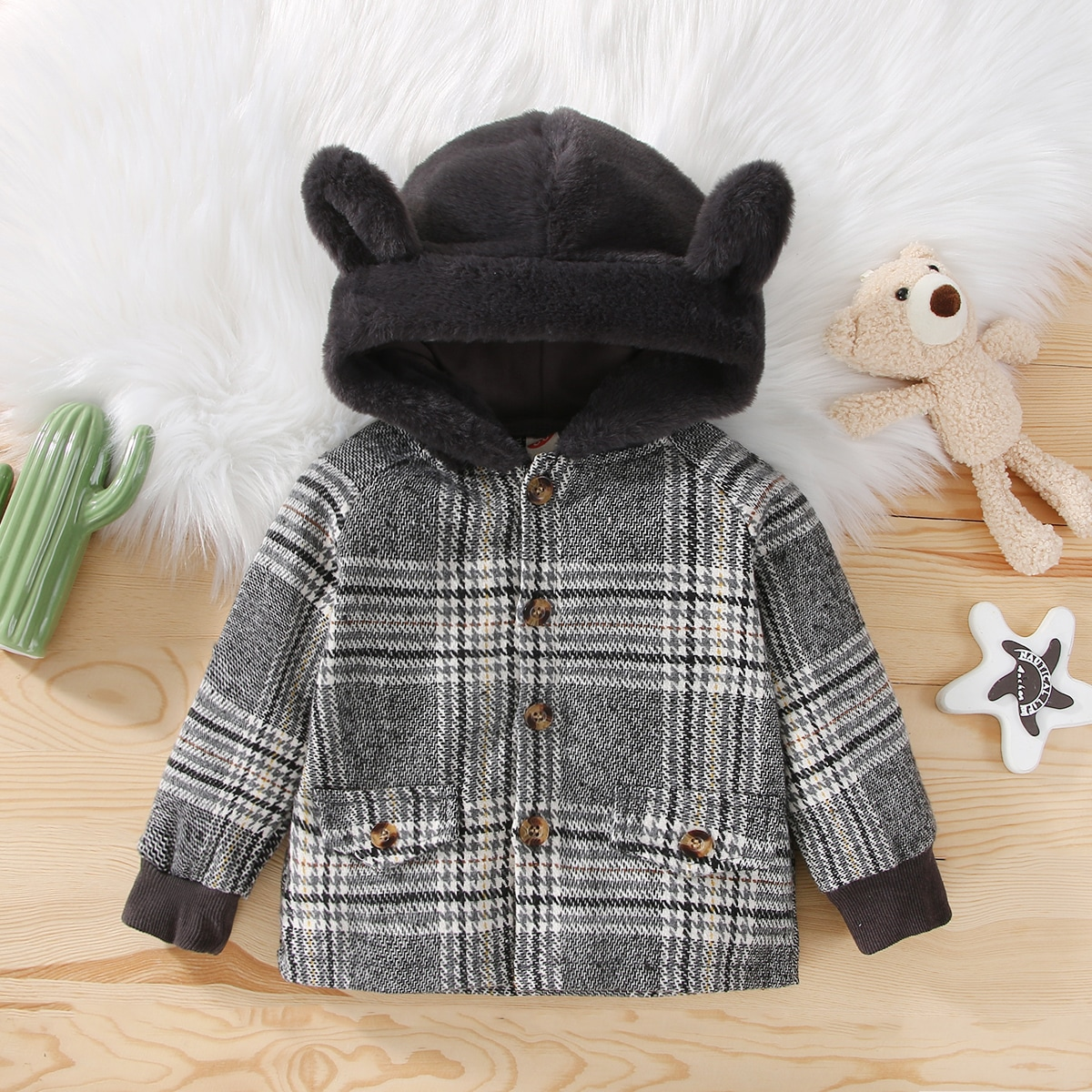 Baby Houndstooth 3D Ear Patched Single Breasted Hooded Overcoat