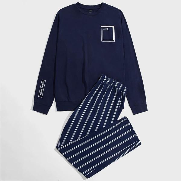 Men Geo And Slogan Graphic Top & Striped Pants PJ Set, Navy blue