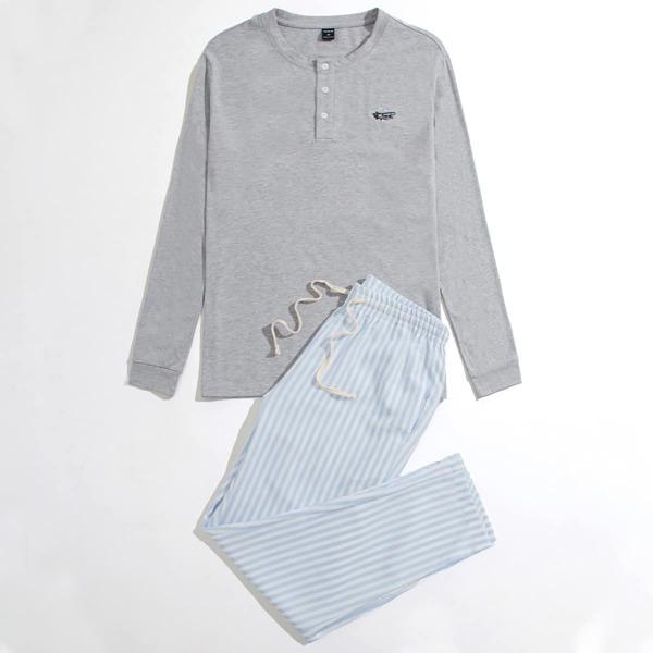 Men Plane Embroidery Top & Striped Pants PJ Set, Multicolor