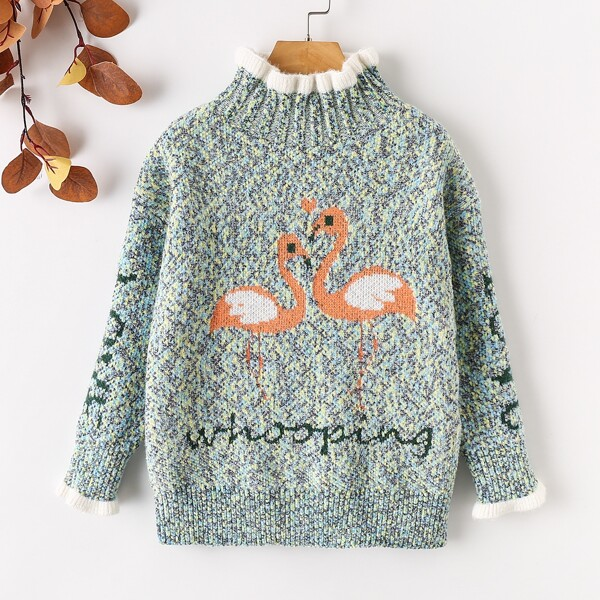Girls Letter & Flamingo Pattern Frilled High Neck Marled Knit Sweater, Multicolor