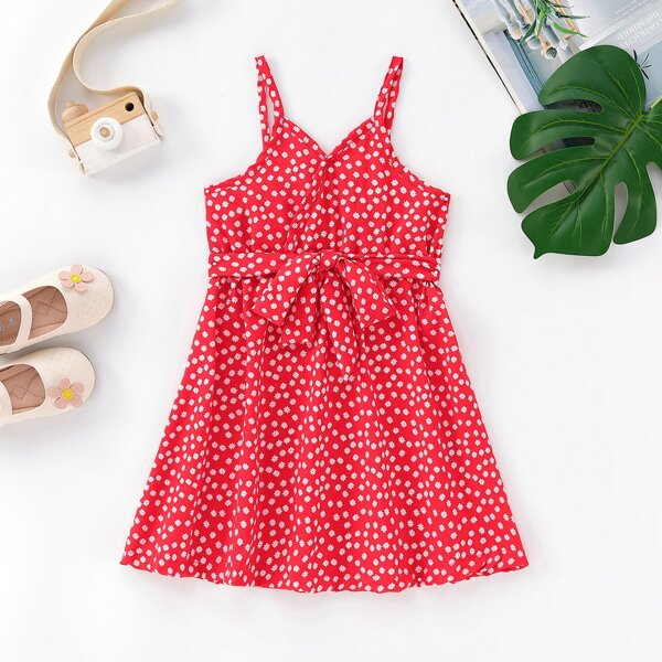 Toddler Girls Ditsy Floral Surplice Front Belted Cami Dress, Red