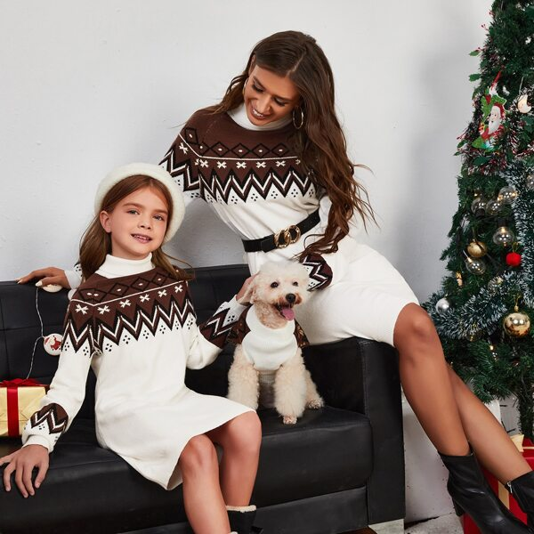 Girls 1pc Chevron & Argyle Pattern Turtleneck Raglan Sleeve Sweater Dress, Multicolor