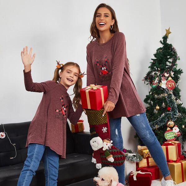 Girls 1pc Christmas Slogan & Elk Print Raglan Sleeve Tee, Burgundy