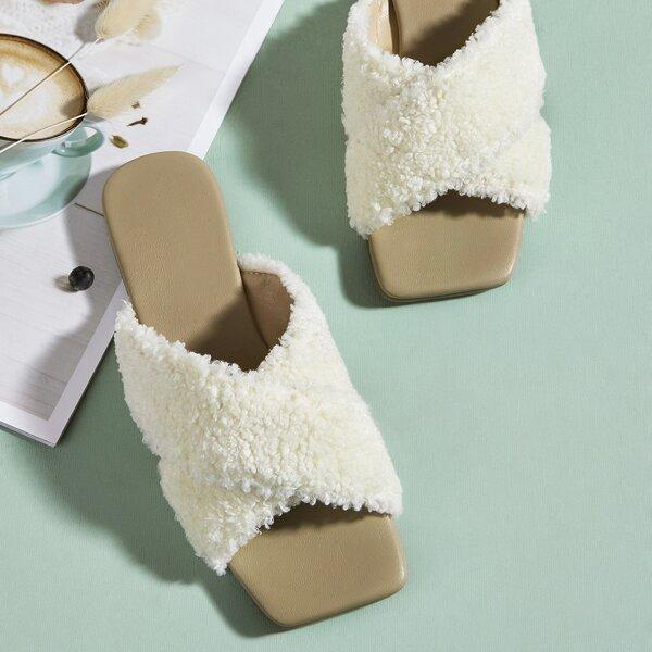 Fuzzy Crossover Strap Slide Sandals, White