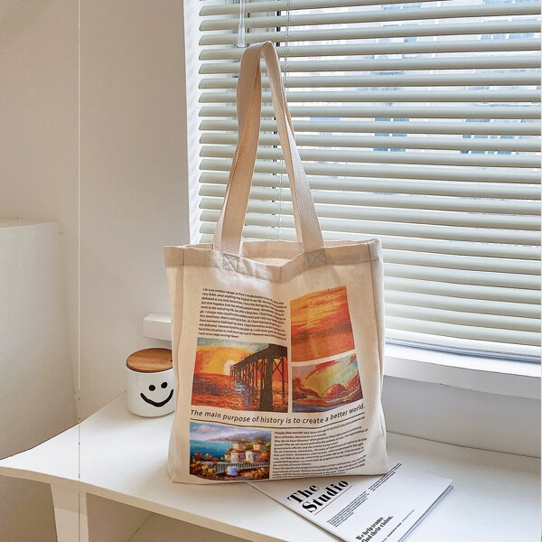 Landscape & Letter Graphic Shopper Bag, Beige