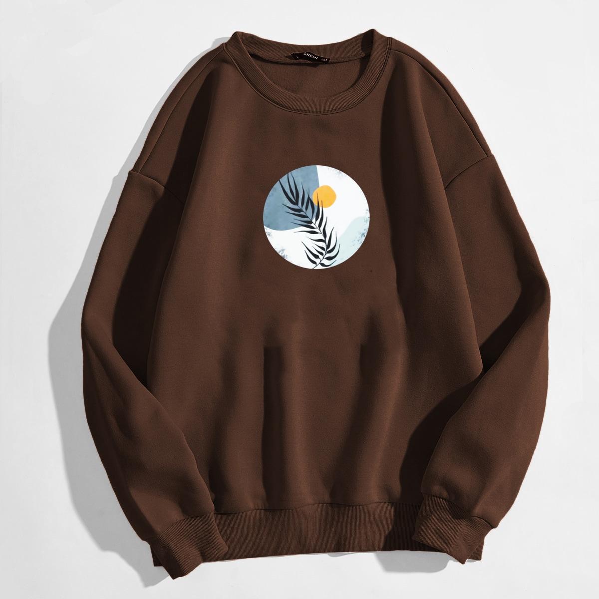 Leaf & Geo Print Thermal Lined Sweatshirt