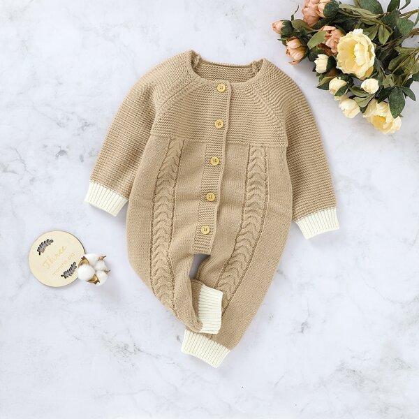 Baby Raglan Sleeve Contrast Trim Cable Knit Jumpsuit, Camel