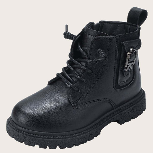 Girls Lace Up Design Side Zipper Combat Boots, Black