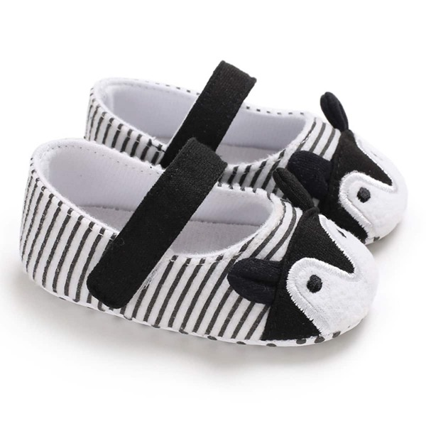 Baby Cartoon Graphic Velcro Strap Flats, Black and white