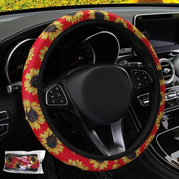 Sunflower Print Car Steering Wheel Cover, Red