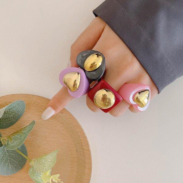 4pcs Heart Design Ring, Multicolor