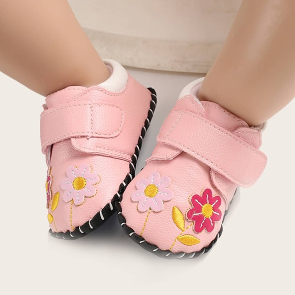 Baby Floral Embroidery Velcro Strap Flats, Pink