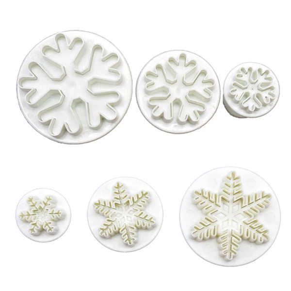 6pcs Christmas Snowflake Shaped Cookie Mold, White